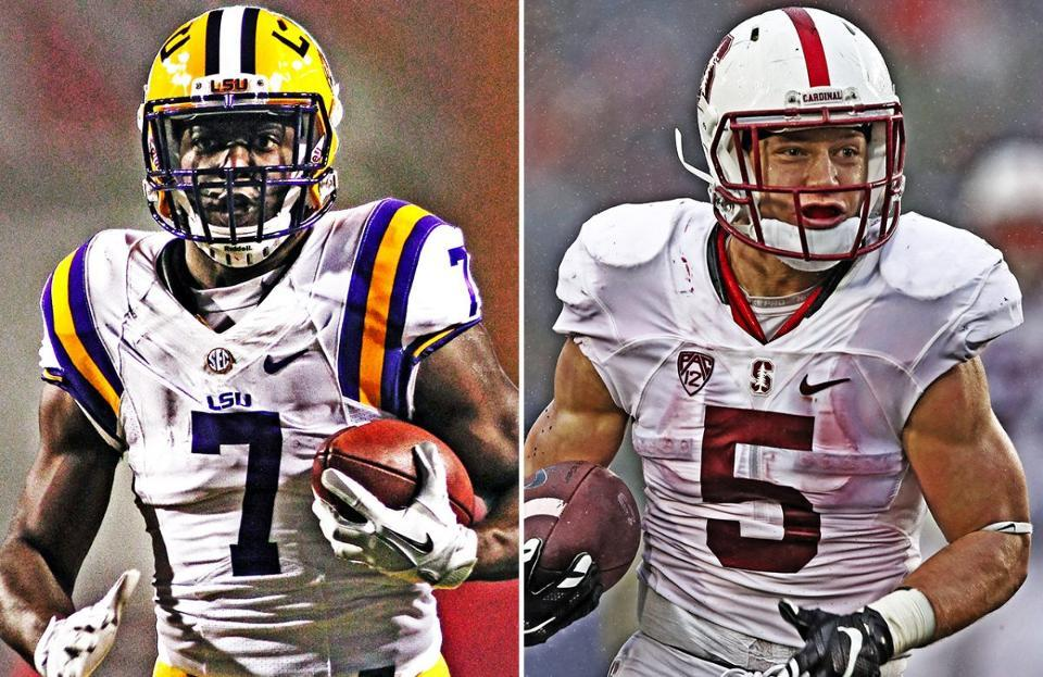 Leonard Fournette of LSU (left) and Christian McCaffery of Stanford (right) have elected to not  play in their teams' respective bowl games because of risk of injury which could hurt their NFL draft stock.