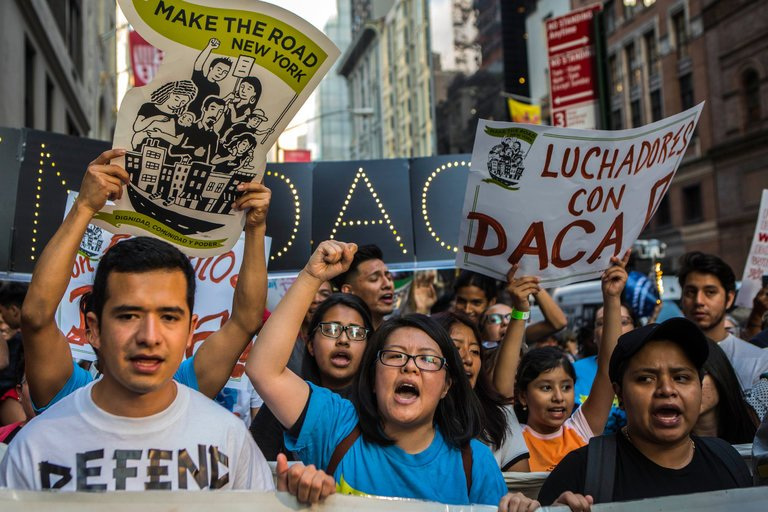 Dreamers protest President Trumps decision to put an end to DACA.