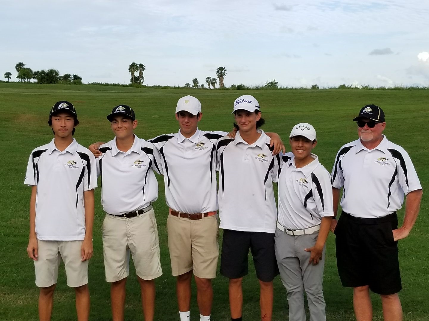 Three members of the OH Boys Golf Team were named to the All-Conference team: Justin Cao (far left), Matthew Hicks (second from left), and Brooks Lamb (fourth from left). They are pictured with Oliver Kiely (third from left), Christian Ayala (fifth from left), and Coach David Keithley (far right).