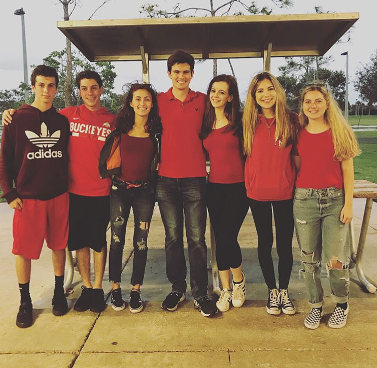 Olympic Heights students (from left) Drew Pinsky, Mitchell Pinsky, Carly Terkiel, Andrew Neppl, Brooke Hall, Julia Eisenberg, and Victoria Lichtenthal  have founded the 535 Letter for Change organization.