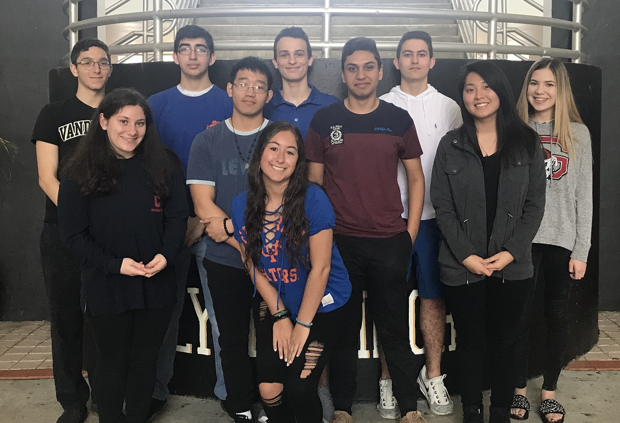 The Olympic Heights Class of 2018 Top Ten are: (back row, from left) Justin Condren, Nicholas Jordan, William Salberg, James Fryer, Julia Eisenberg (front row , from left) Hannah Nemery, Jerry Tran, Mohammad Asmar, San Hua, and (front) Remi Taylor.