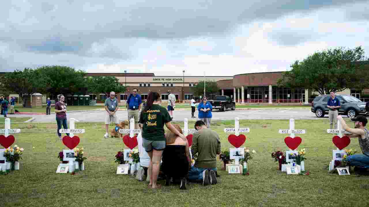 A makeshift memorial to the 10 murdered Sante Fe High School students was erected outside the school.