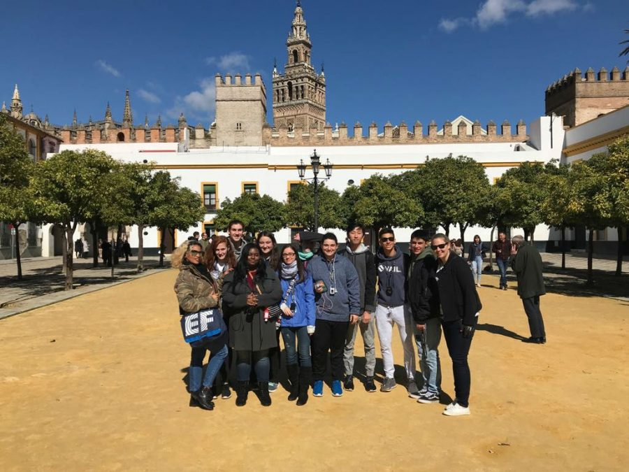 Olympic Heights students and group leaders pose in front of the Alcazar Palace in Seville, Spain, one of the many points of interest visited during a 2018 Spring Break EF Educational Tour.