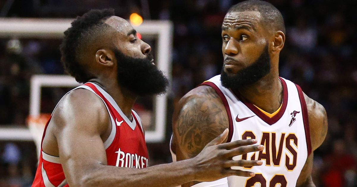 The NBA's MVP will most likely be James Harden (left), but it should go to LeBron James.