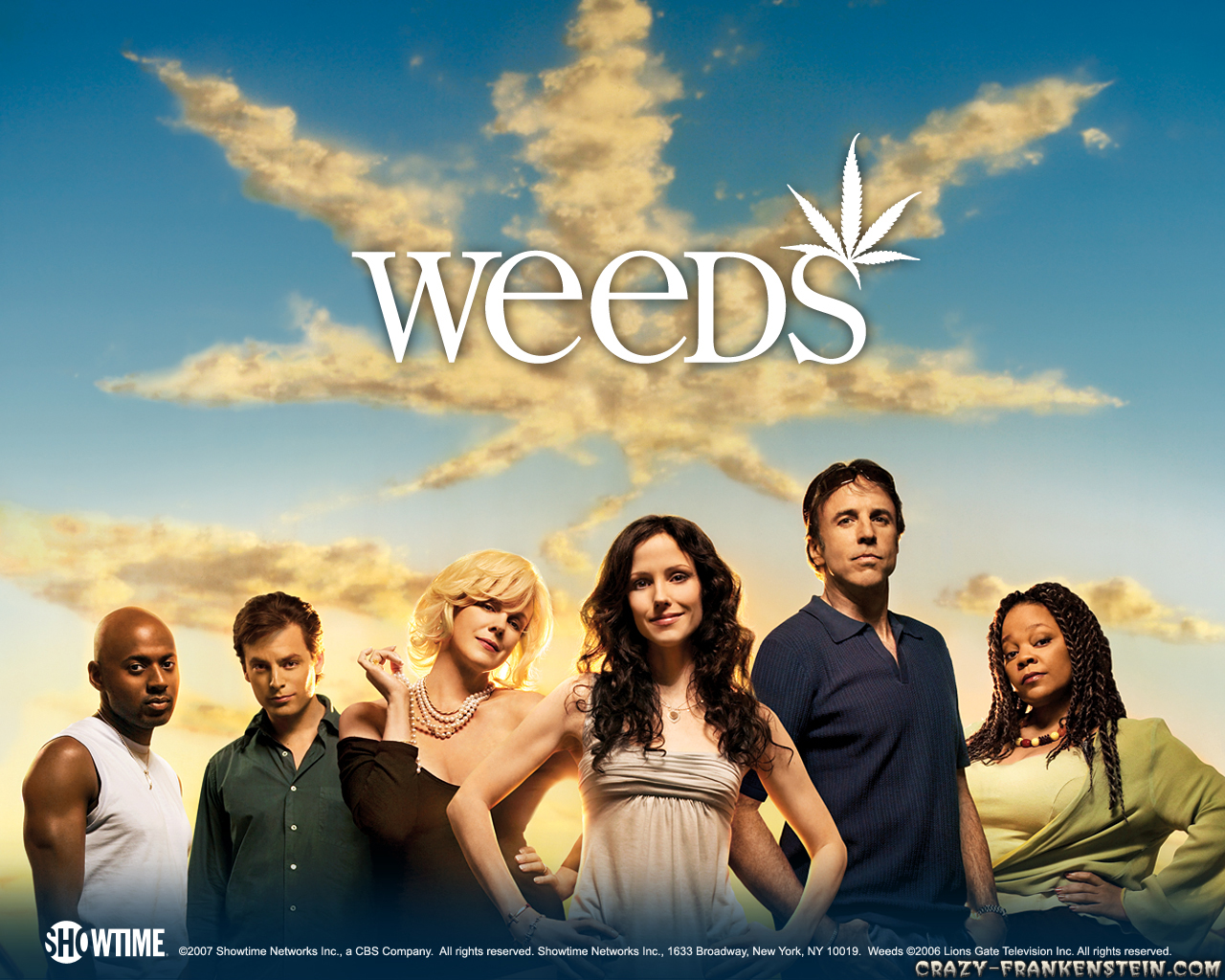 Showtime's Weeds, starring Mary-Louise Parker (front center), was one of the first marijuana-themed TV shows, running for eight seasons.