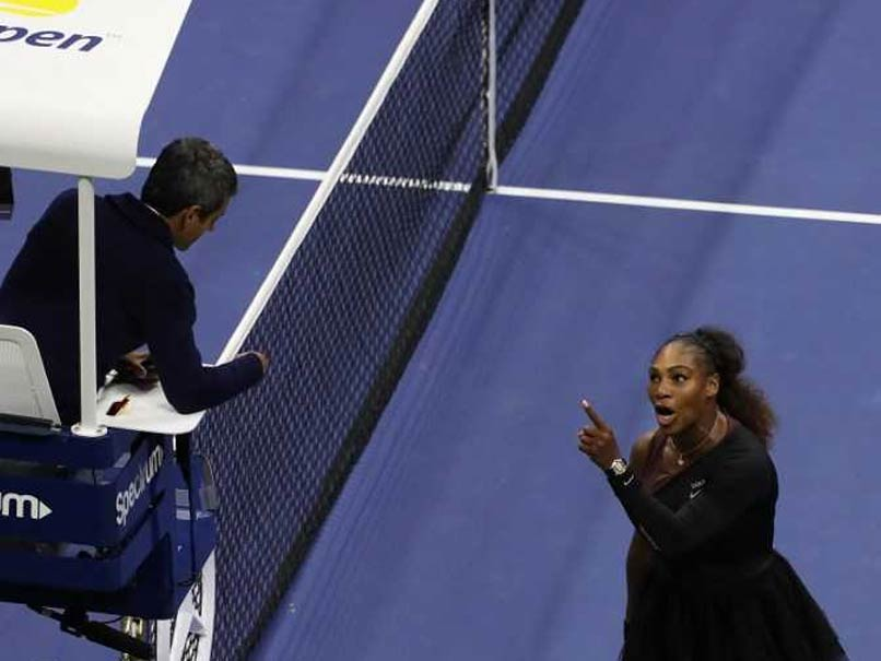 Serena Williams takes exception to chair umpire Carlos Ramos's charge of receiving illegal coaching during the U.S. Open women's final on Sept. 8.