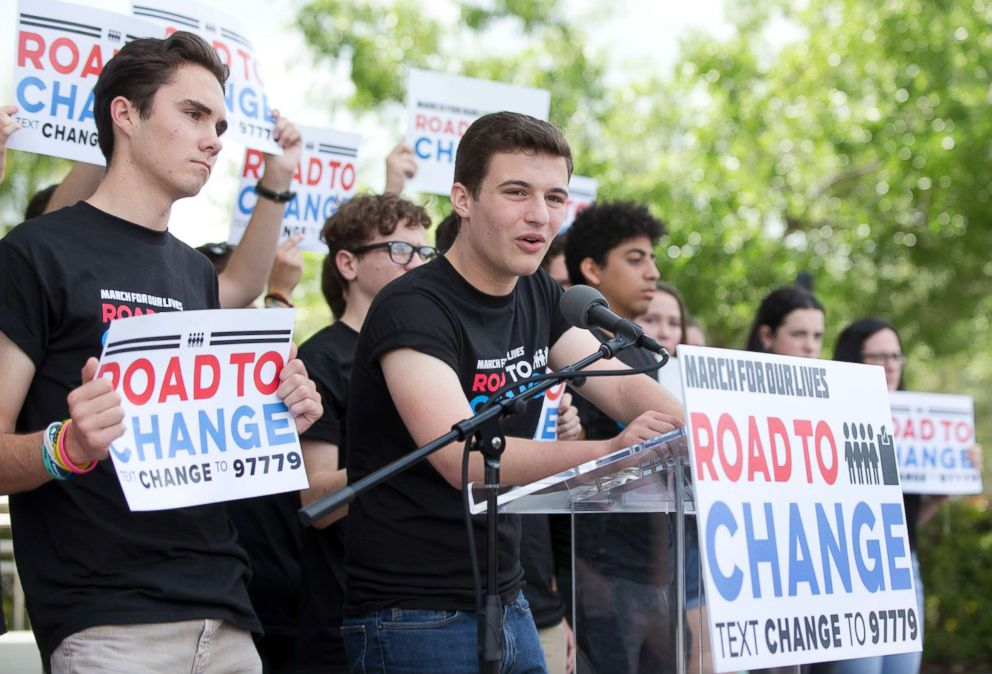 Youth activists such as Marjorie Stoneman Douglas students David Hogg (left) and Cameron Kasky (center) were very active in trying to turn out the youth vote for the 2018 midterm election.