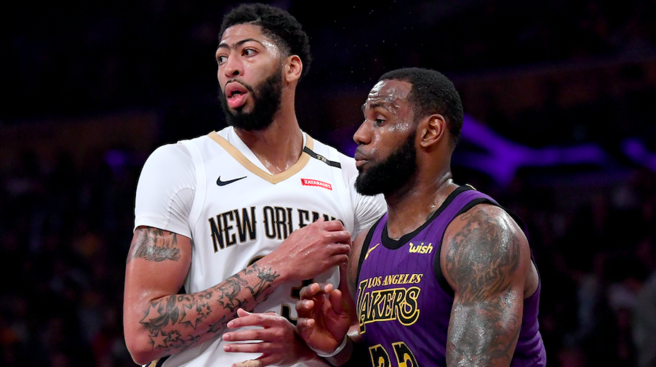It+is+anticipated+by+many+that+Anthony+Davis+%28left%29+will+eventually+end+up+alongside+LeBron+James+%28right%29+on+the+Los+Angeles+Lakers.