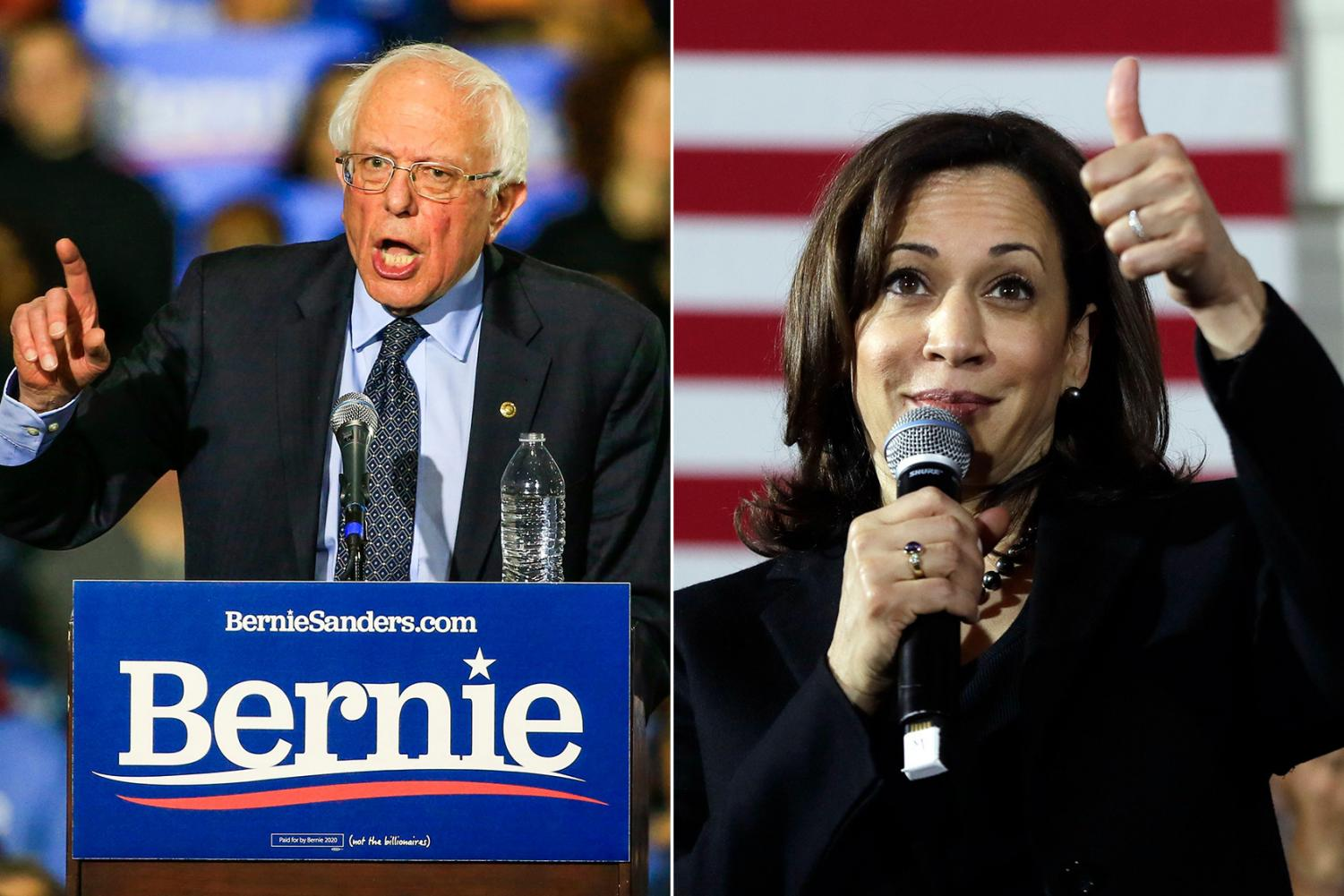Bernie Sanders (left) and Kamala Harris are the current front runners in a way-too-early assessment of the field of candidates for the 2020 Democratic  Party's presidential nomination.