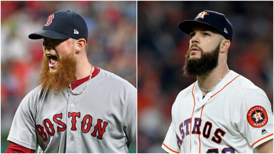 All-Star+pitchers+Craig+Kimbrel+%28left%29+and+Dallas+Keuchel+remain+unsigned+almost+one+full+month+into+the+2019+season.