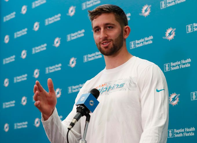 Quarterback+Josh+Rosen+addresses+the+media+after+being+traded+to+the+Miami+Dolphins.