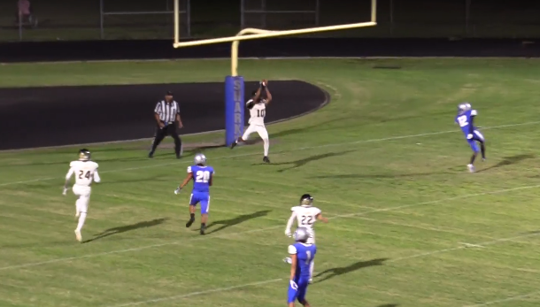 Olympic Heights' defensive back Jekkaven Smith (#10) intercepts a Spanis River touchdown pass attempt late in the fourth quarter in the Lions' 13-6 win on Friday, Sept. 20.