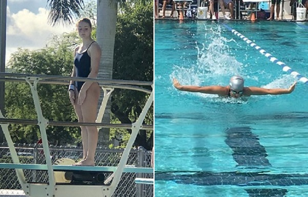 Olympic Heights diver Danielle Anglin (left) and 100 meter freestyle swimmer Sarah Nelson (right) have advanced to their respective regional championship meets.