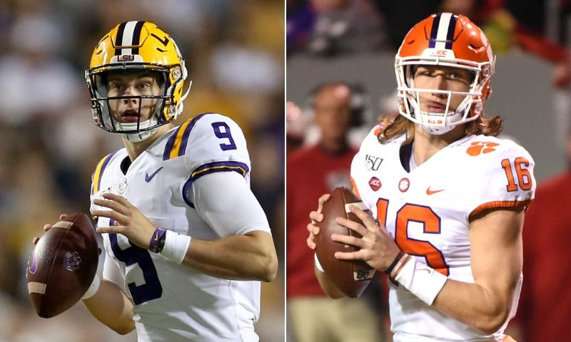 LSU%27s+Joe+Burrow+%28left%29+will+out+duel+Clemson%27s+Trevor+Lawrence+in+college+football%27s+national+championship+game.