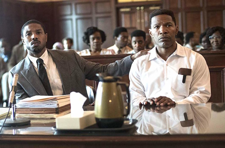 Michael B. Jordan (left) plays a civil rights attorney trying to get his wrongly convicted client, played by Jamie Foxx, exonerated of a murder charge in Just Mercy, the best film of January 2020.