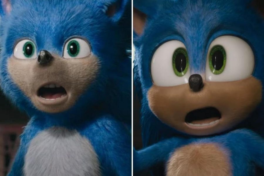 The film version of Sonic the Hedgehog was delayed 10 months due to negative reaction to the original design of the title character (left). A more cartoonish version (right) of Sonic was met with approval and the film has set an opening weekend box office record.
