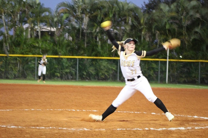 Both on the mound and at the plate, senior Kaitlyn Cunningham has been the catalyst to the Lions softball team's undefeated streak.