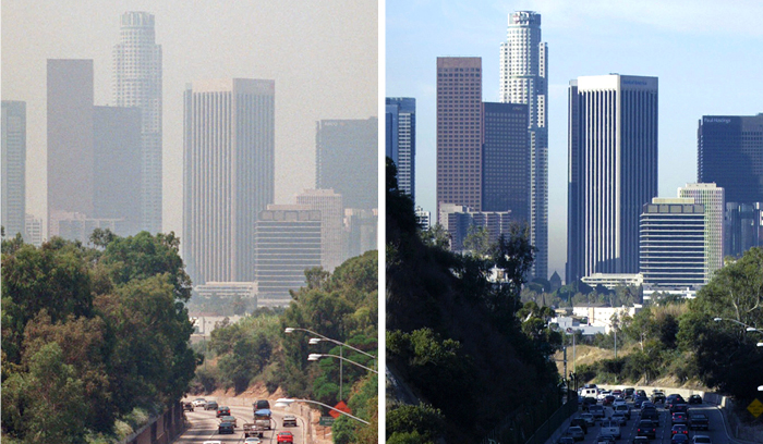 Before and after quarantining photos of the downtown Los Angeles skyline.