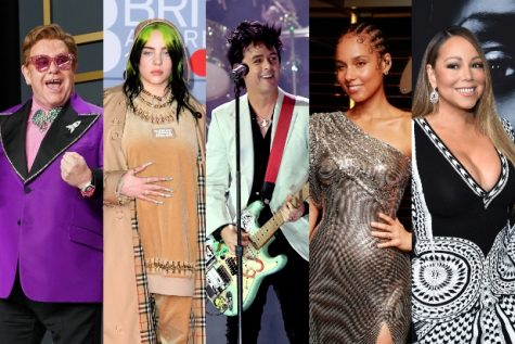 The  iHeartRadio Living Room Concert for America that raised over $10 million for pandemic relief, featured (from left to right); Elton John, Billie Eilish, Billy Joe Armstrong, Alicia Keys, Mariah Carey, and a host of other celebrities.