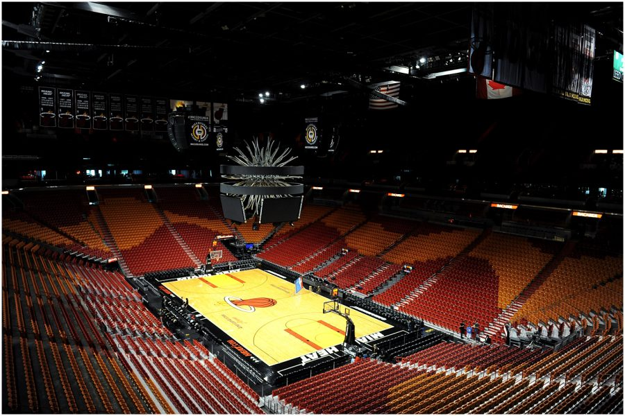 The+Miami+Heat%27s+American+Airlines+Arena+is+still+sitting+empty+as+the+NBA+works+to+develop+a+format+in+order+to+finish+the+2019-20+season+once+play+resumes.