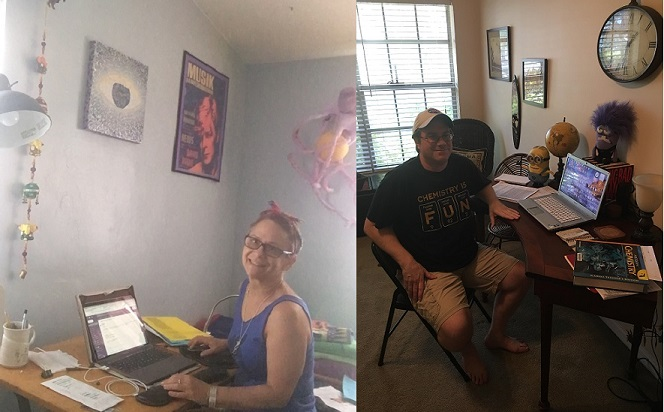 Olympic Heights art teacher Ms. Chrisanthy Vargo (left) and science teacher Mr. Lachlan MacKay (right) at their home teaching stations.