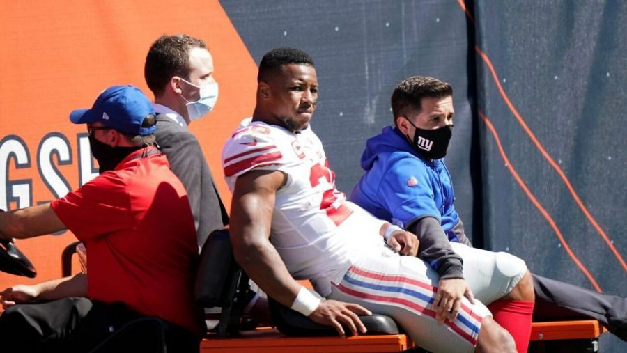 New+York+Giants+star+running+back+Saquon+Barkley+is+carted+off+the+field+after+suffering+a+season-ending+torn+ACL+in+last+Sunday%27s+loss+to+the+Chicago+Bears.+