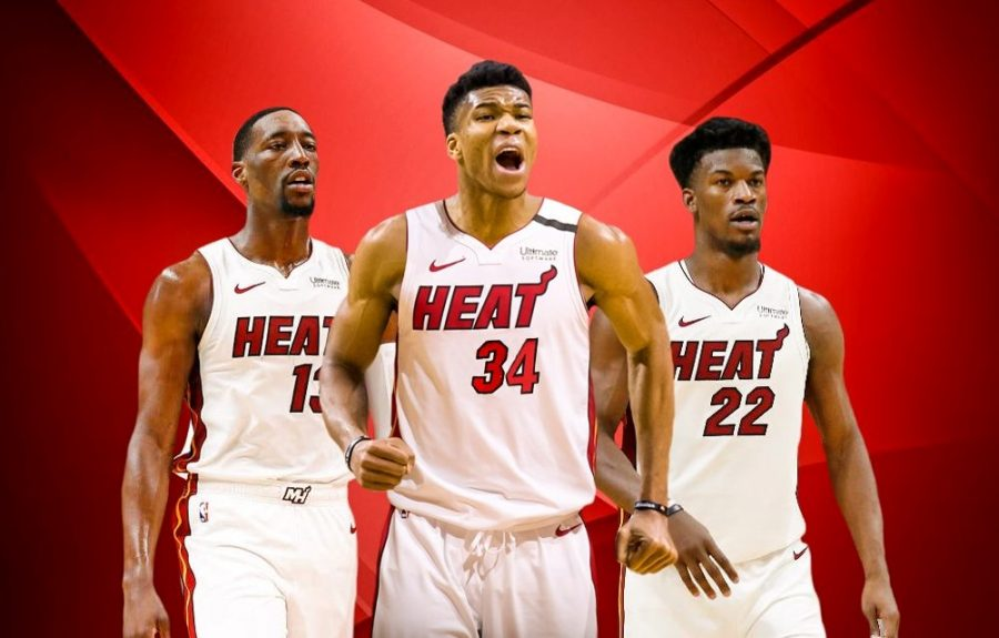 How sweet for the Heat if they could do a Big Three Part Two by adding Giannis Antetokounmpo (#34) to a starting five already featuring Bam Adebayo (#13) and Jimmy Butler (#22).