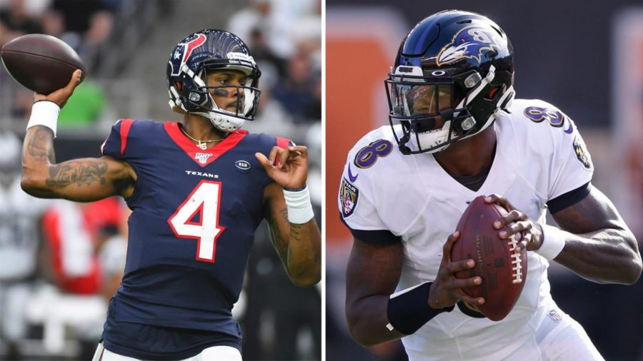 In fantasy football, DeShaun Watson (left) is red hot, while Lamar Jackson (right) is not. So, which one should fantasy players trade away, and which should should they trade for? The answer may be surprising.