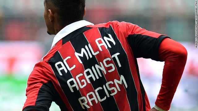 In+protest+of+racial+slurs+being+hurled+at+black+players+by+fans%2C+players+have+taken+to+wearing+anti-racist+messages+on+their+jerseys.