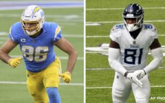 After re-signing quarterback Cam Newton to one year contract, the New England Patriots went out and got him two formidable weapons in tight ends Hunter Henry (left) and Jonnu Smith (right).