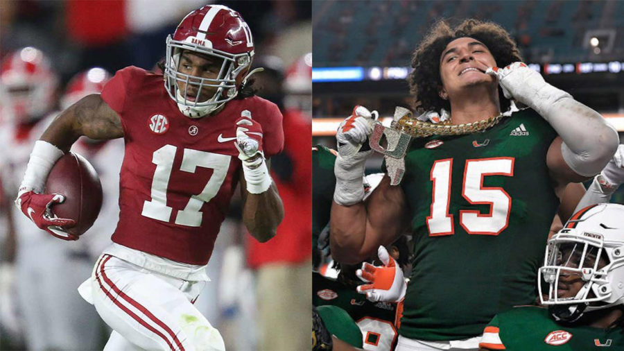 The Miami Dolphins got two of their top first round targets in Alabama wide receiver Jaylen Waddle (left) and University of Miami defensive end Jaelan Phillips (right).