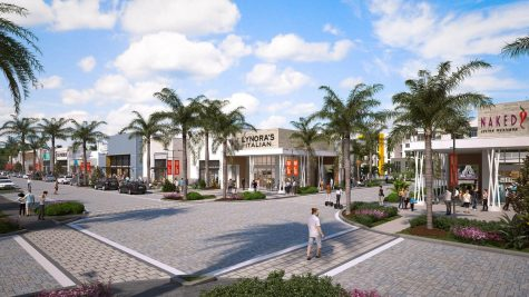 An artists rendering shows an appealing version of the new Uptown Boca plaza located just east of 441 on Glades Road.