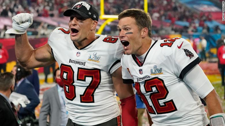 The Tampa Bay Bucs Tom Brady (12) and Rob Gronkowski (87) return to New England to face the Patriots in week four of the NFL season.