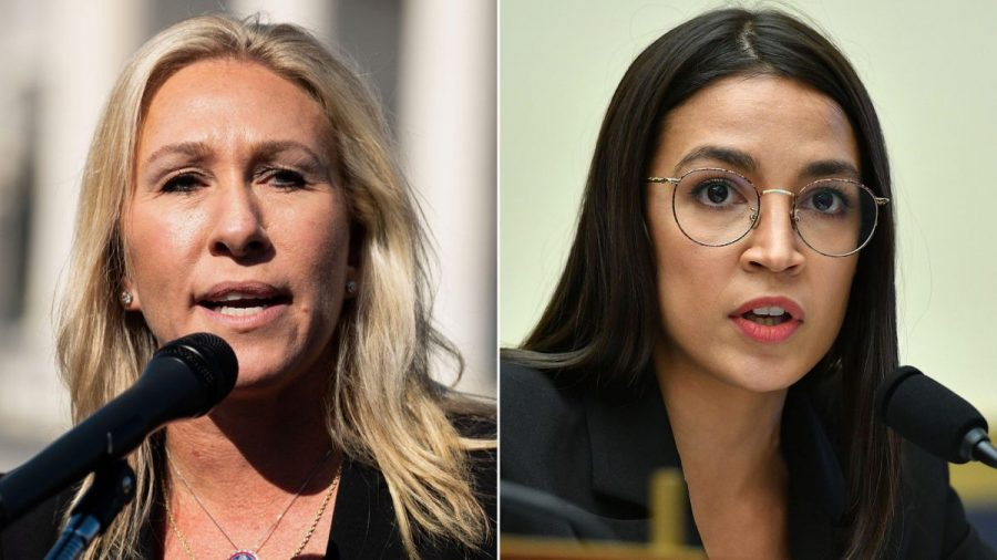 Rep.+Marjorie+Taylor+Greene+%28left%29+recently+verbally+accosted+Rep.+Alexandria+Ocasio-Cortez+%28right%29+just+outside+the+House+chambers.