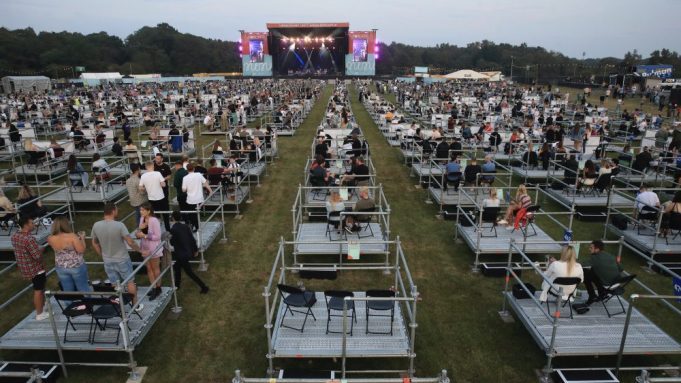 Pod seating at concerts is the latest step in a return to live-concert performances.