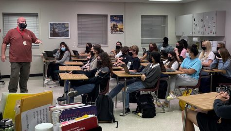 Olympic Heights students, such as those in Mr. Michael Taylors fourth period AICE Global Perspectives class, have been adhering to the school districts mandatory mask mandate.