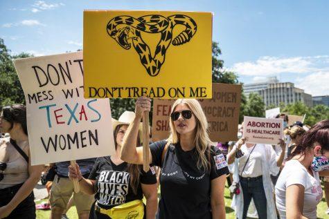 Pro-choice supporters protest the new Texas abortion law that went into effect on Sept. 21, 2021.