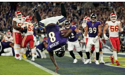 Baltimore Ravens quarterback Lamar Jackson does a flip into the end zone on his touchdown run in the Ravens win over the Kansas City Chiefs on the NFLs week two Sunday night game.