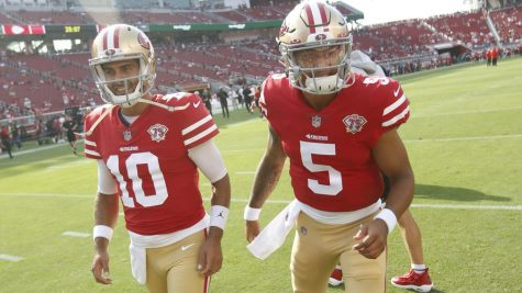 Jimmy Garoppolo (#10) beat out rookie Trey Lance (#5) in a close contest for the San Francisco 49ers starting quarterback job.