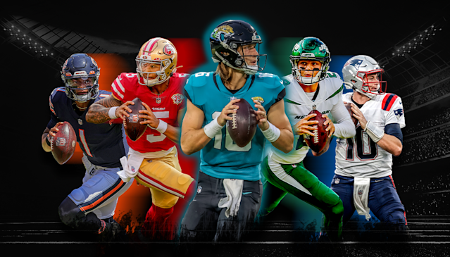 Five quarterbacks were taken in the first round of the 2021 NFL draft, and all could have an impact on their teams success this season. From left to right: Chicagos Justin Fields, San Franciscos Trey Lance, Jacksonvilles Trevor Lawrence, New York Jets Zach Wilson, and New Englands Mac Jones.