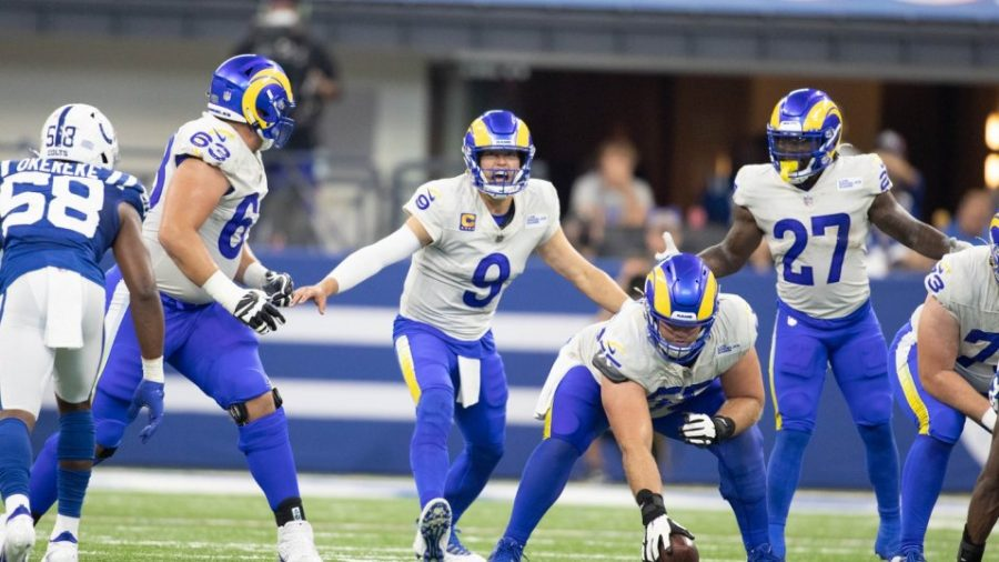 Quarterback Matthew Stafford (#9), in his first season behind the center for the Los Angeles Rams, has his team looking like the early favorite to win this seasons Super Bowl.